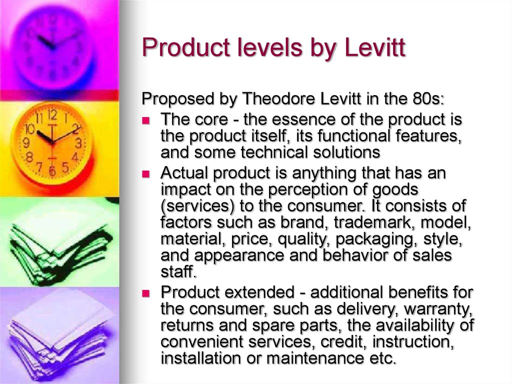 Product levels by Levitt