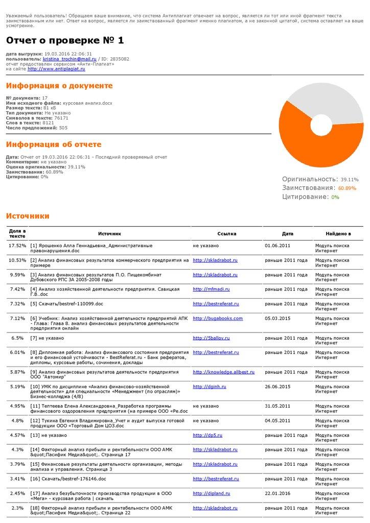Отчет о проверке на подлинность курсовой работы презентация онлайн Отчет о проверке на подлинность курсовой работы