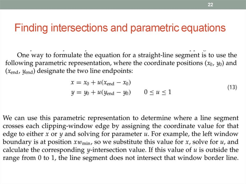 Finding intersections and parametric equations