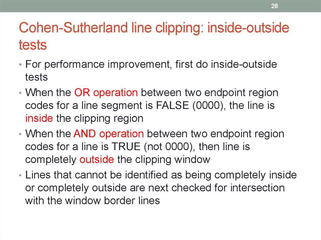 Cohen-Sutherland line clipping: inside-outside tests