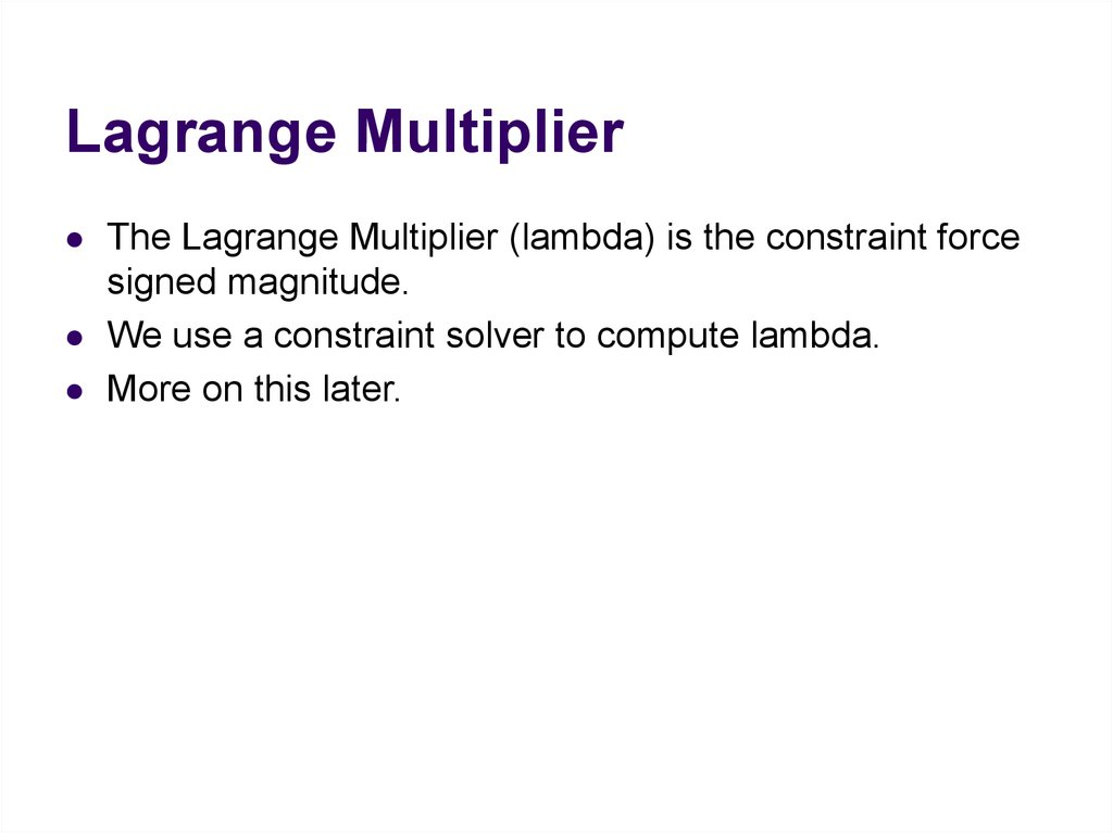 Lagrange Multiplier