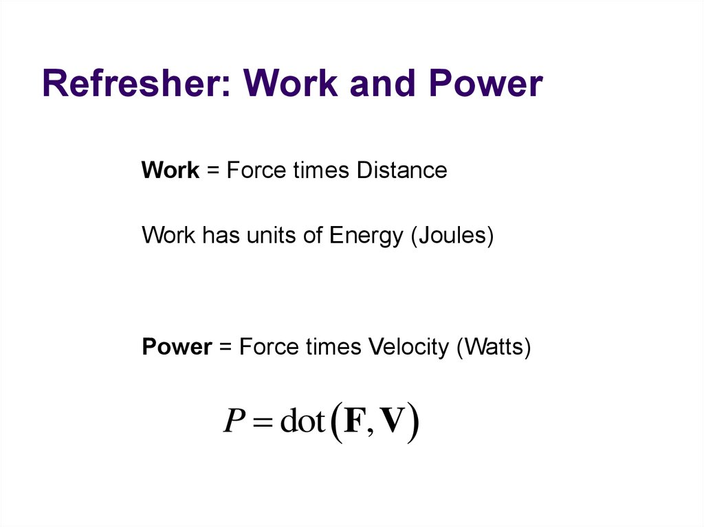 Refresher: Work and Power
