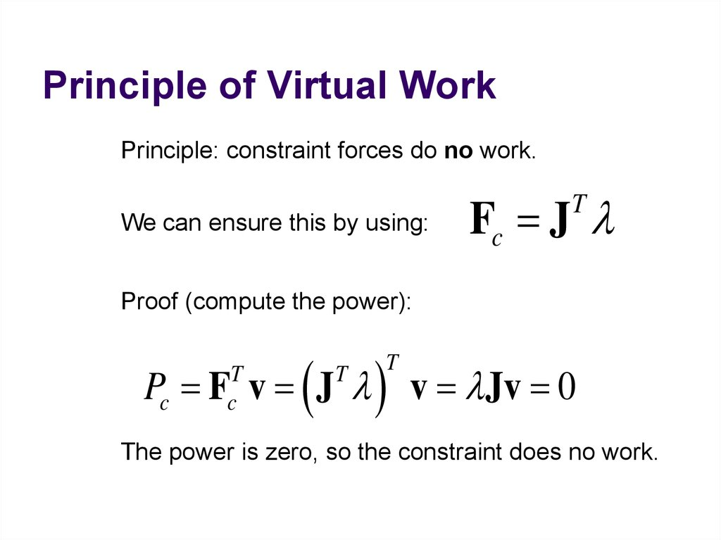 Principle of Virtual Work