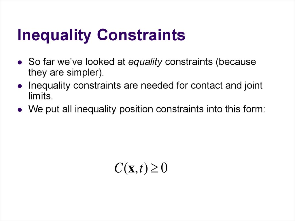 Inequality Constraints