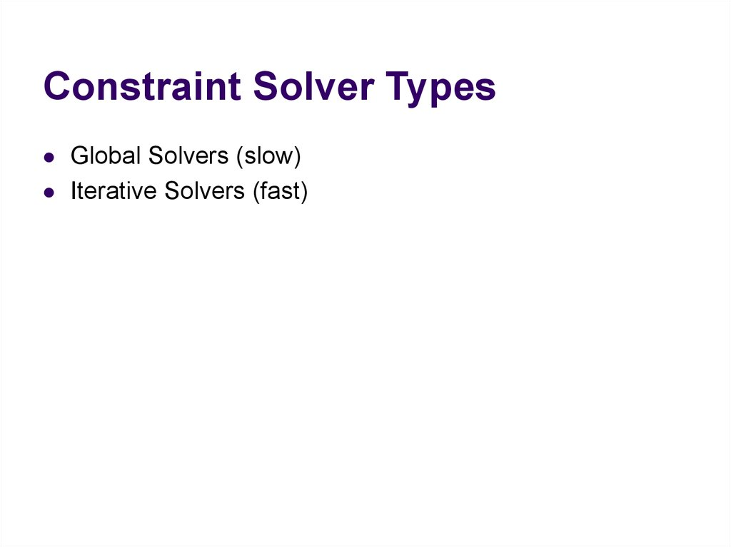 Constraint Solver Types