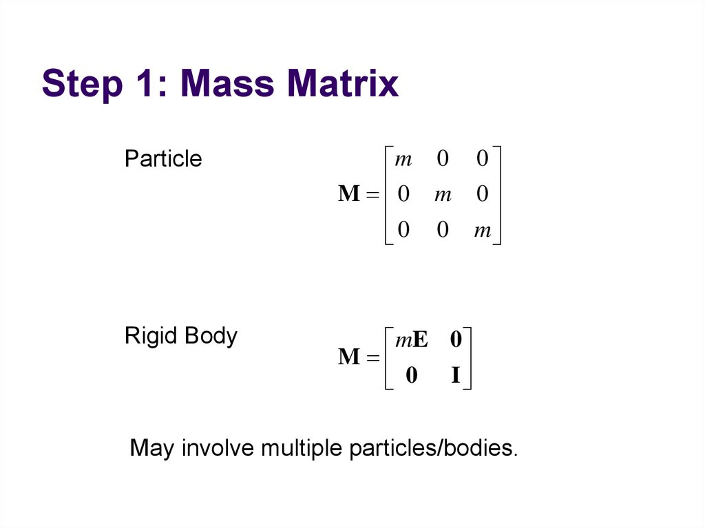 Step 1: Mass Matrix