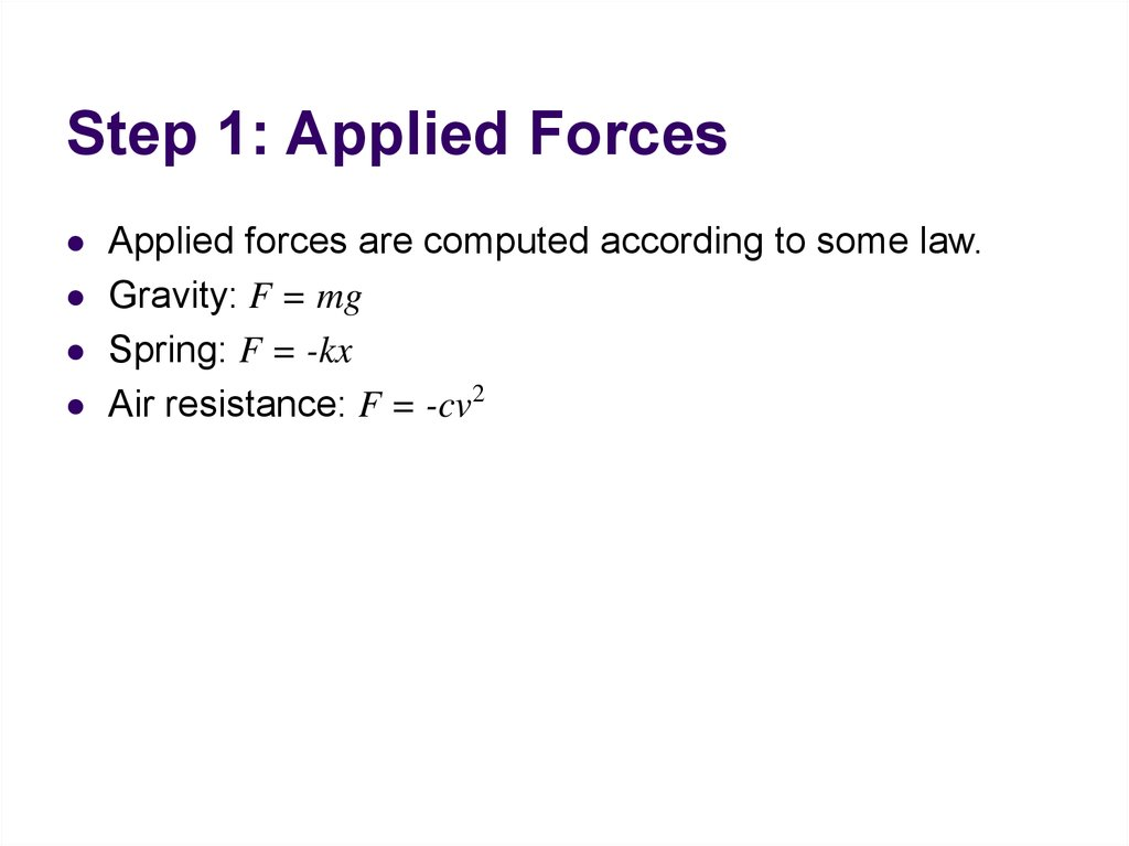Step 1: Applied Forces
