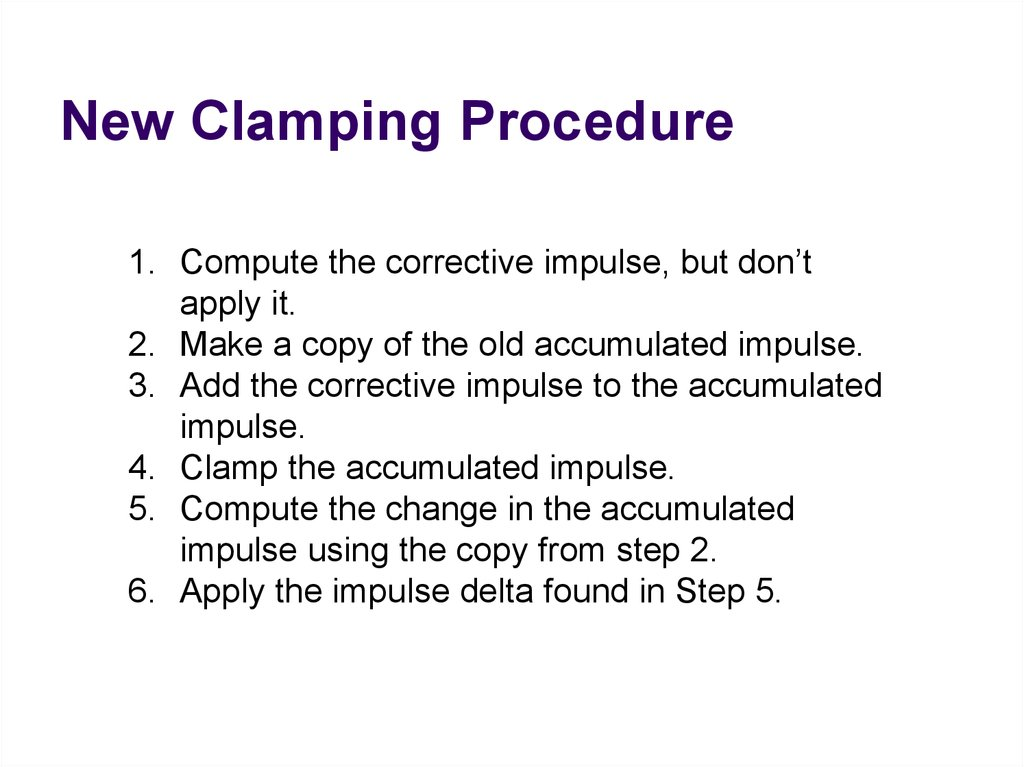 New Clamping Procedure