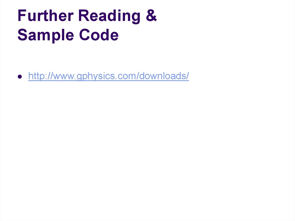 Further Reading & Sample Code