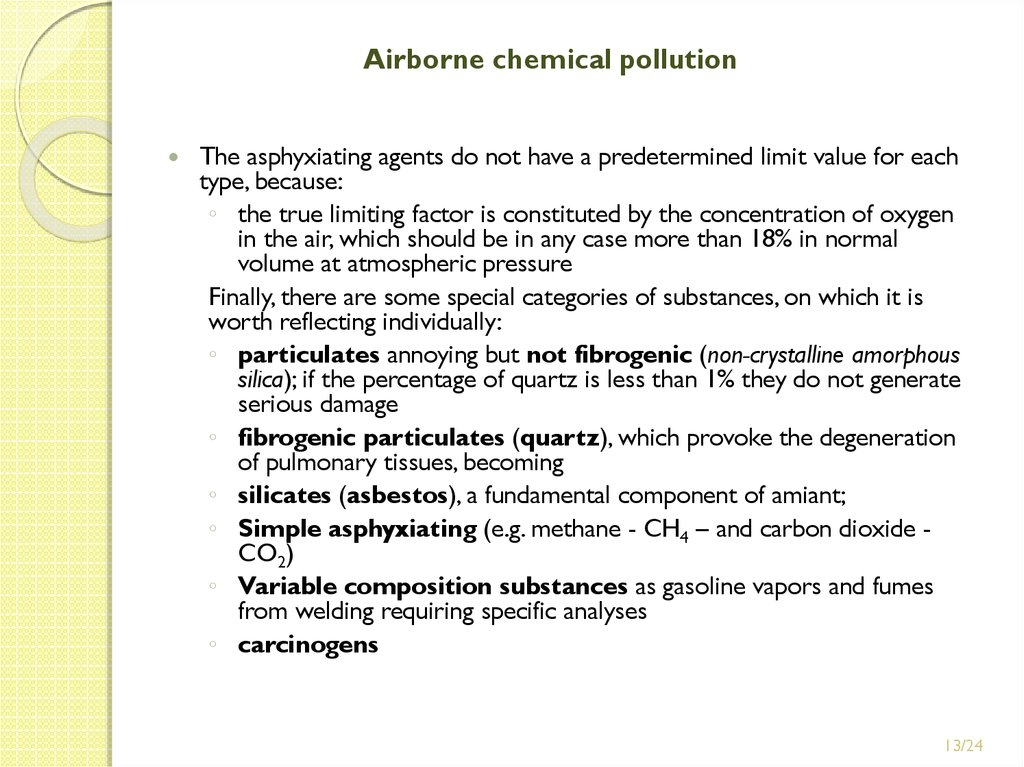 Airborne chemical pollution