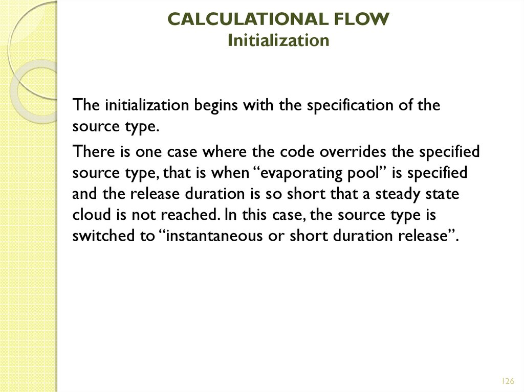 CALCULATIONAL FLOW Initialization