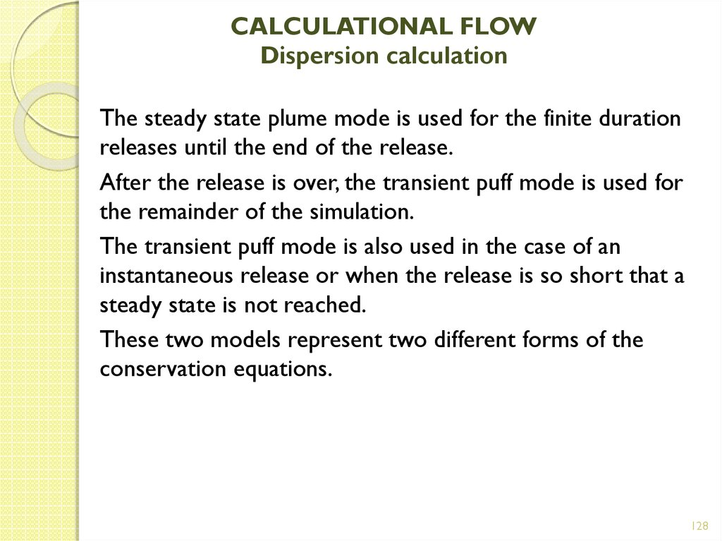 CALCULATIONAL FLOW Dispersion calculation