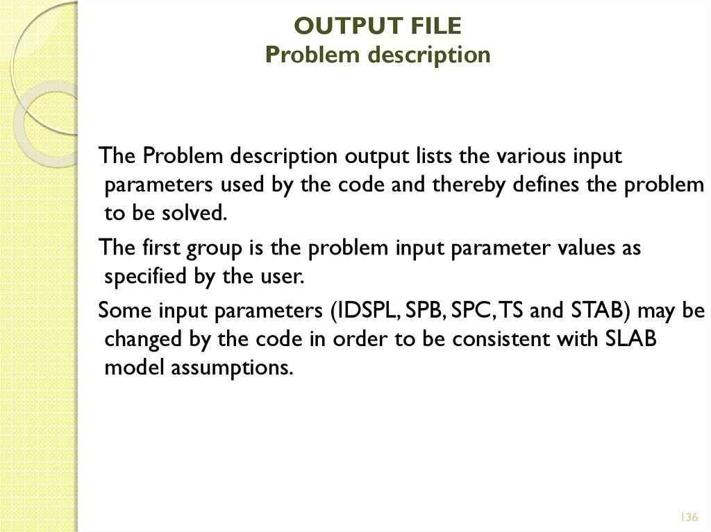 OUTPUT FILE Problem description