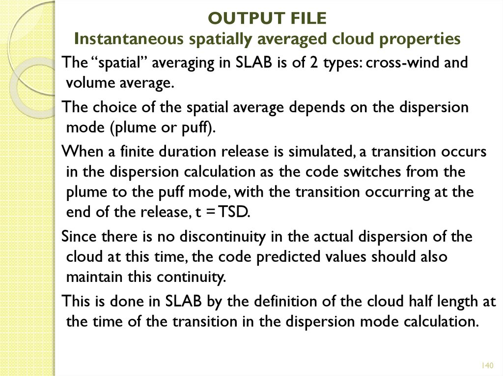 OUTPUT FILE Instantaneous spatially averaged cloud properties