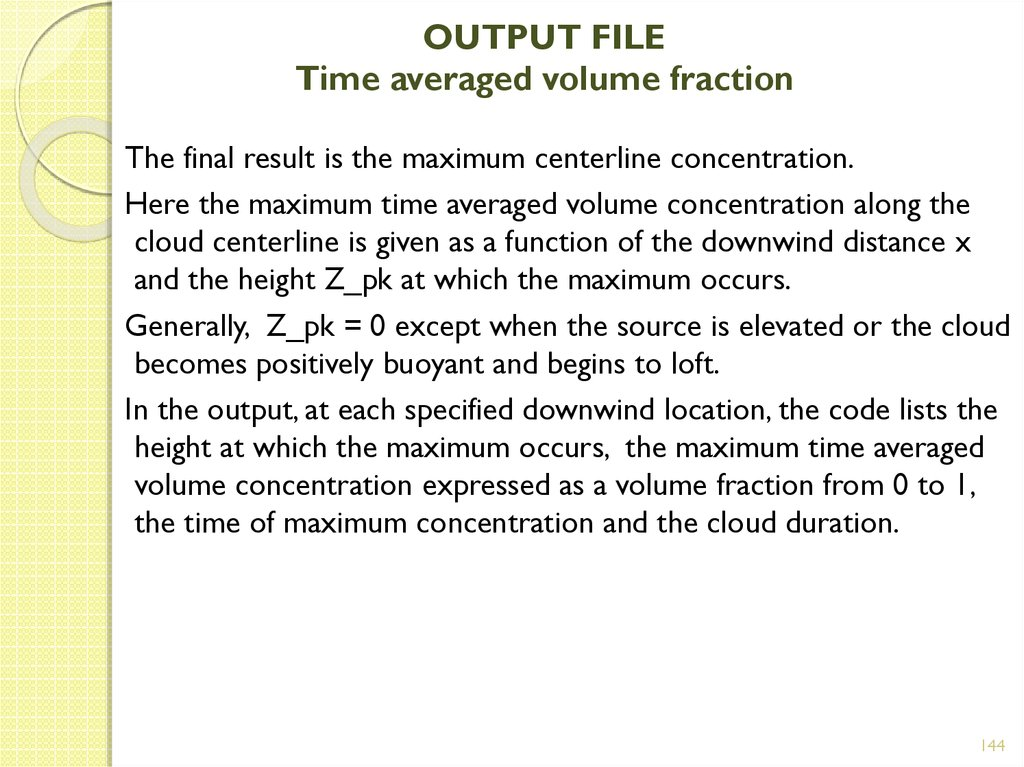 OUTPUT FILE Time averaged volume fraction