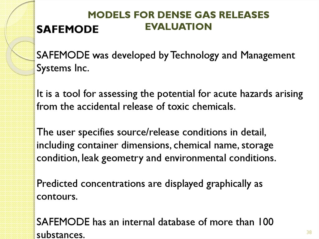 MODELS FOR DENSE GAS RELEASES EVALUATION