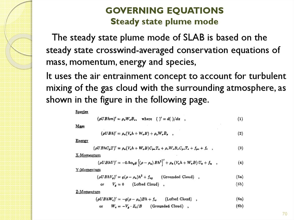 GOVERNING EQUATIONS Steady state plume mode