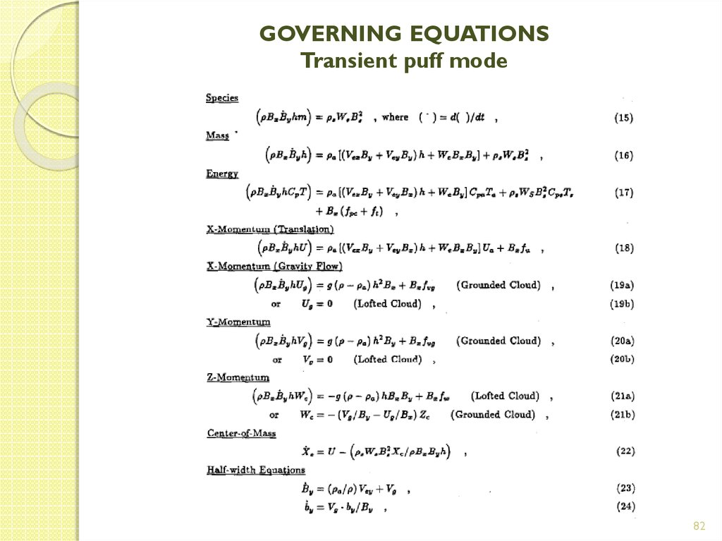 GOVERNING EQUATIONS Transient puff mode