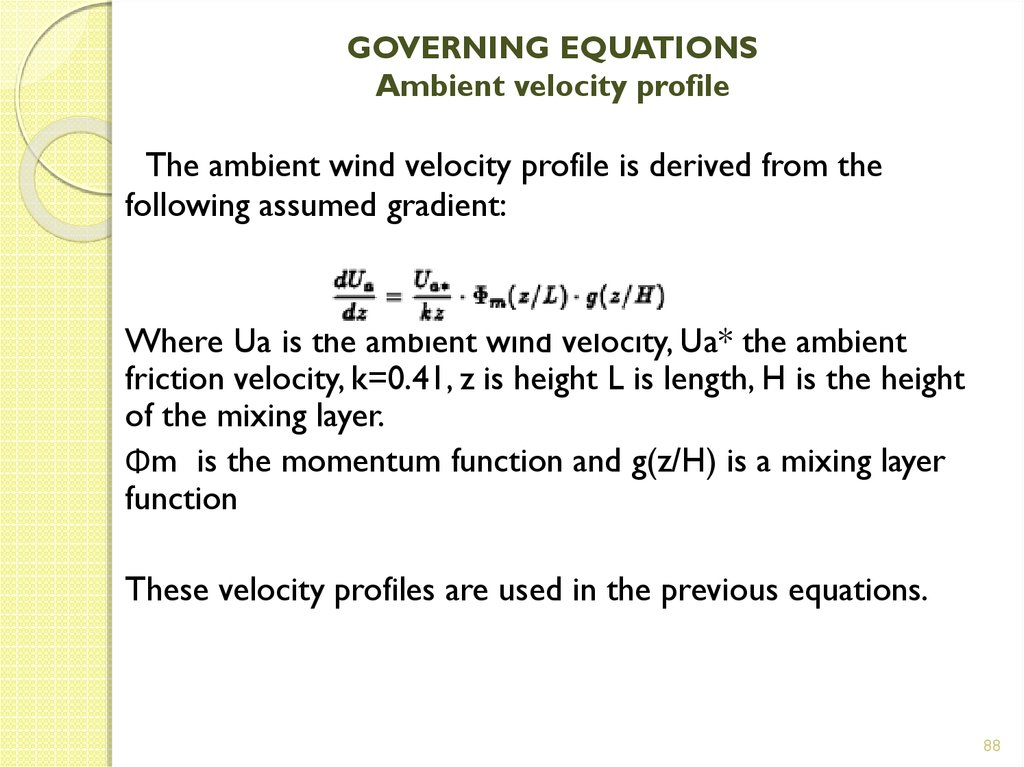 GOVERNING EQUATIONS Ambient velocity profile