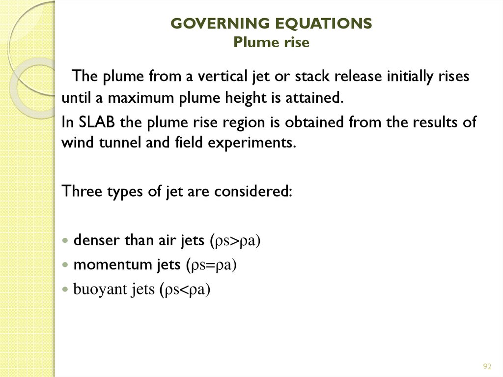 GOVERNING EQUATIONS Plume rise