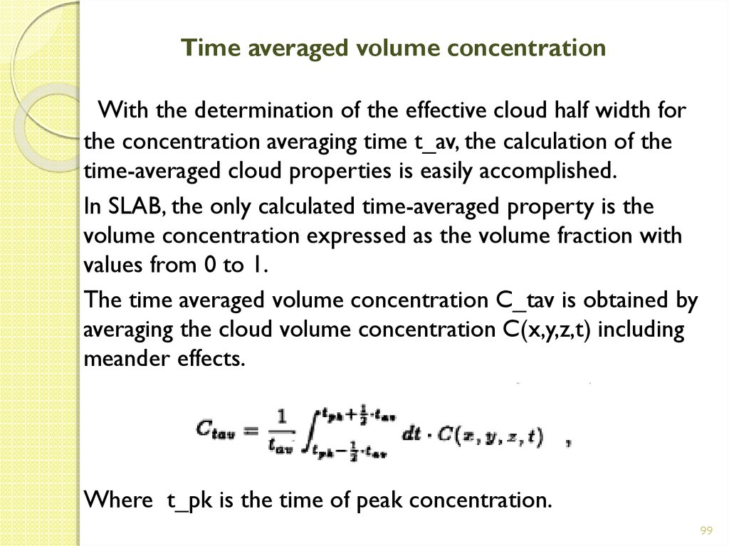 Time averaged volume concentration