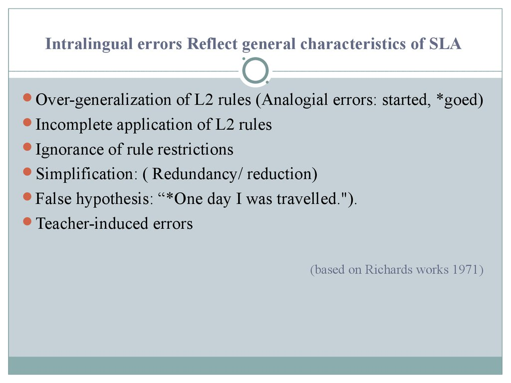 Intralingual errors Reflect general characteristics of SLA