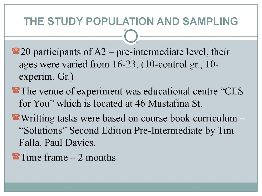 THE STUDY POPULATION AND SAMPLING