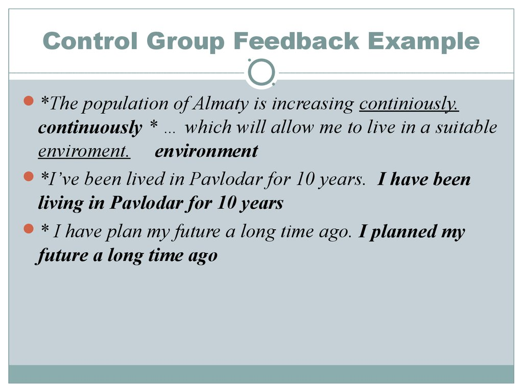 Control Group Feedback Example
