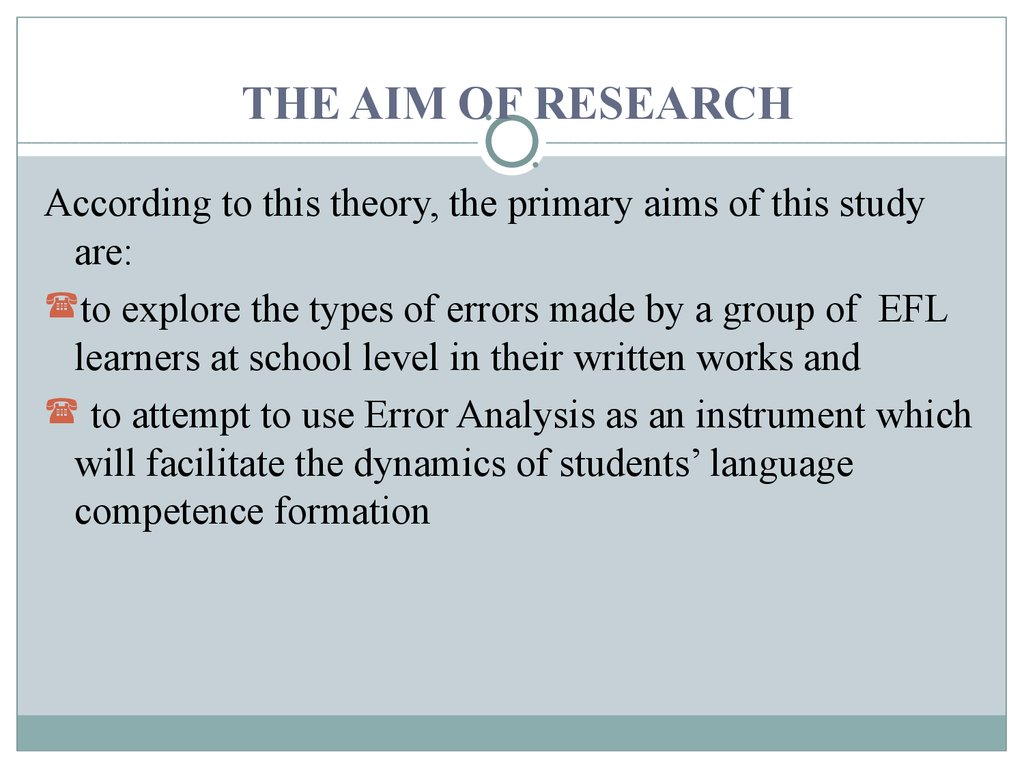 THE AIM OF RESEARCH