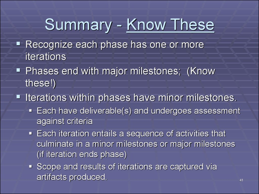 Summary - Know These