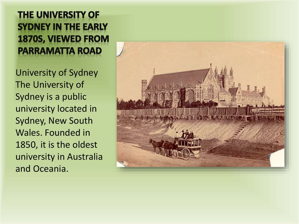 The University of Sydney in the early 1870s, viewed from Parramatta Road