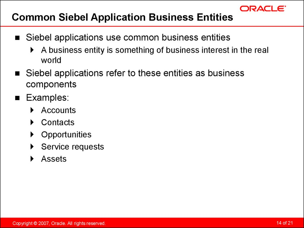 Common Siebel Application Business Entities