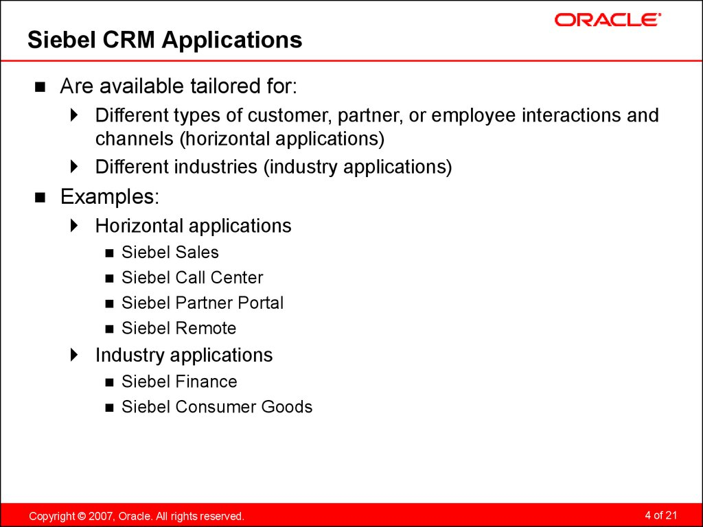 Siebel CRM Applications