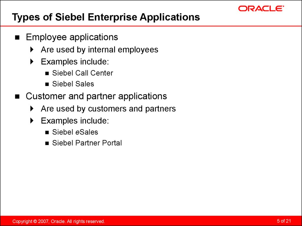 Types of Siebel Enterprise Applications