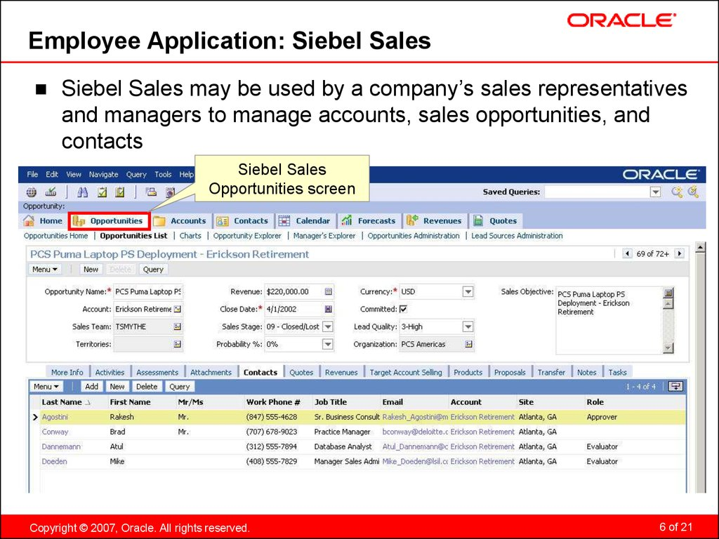 Employee Application: Siebel Sales