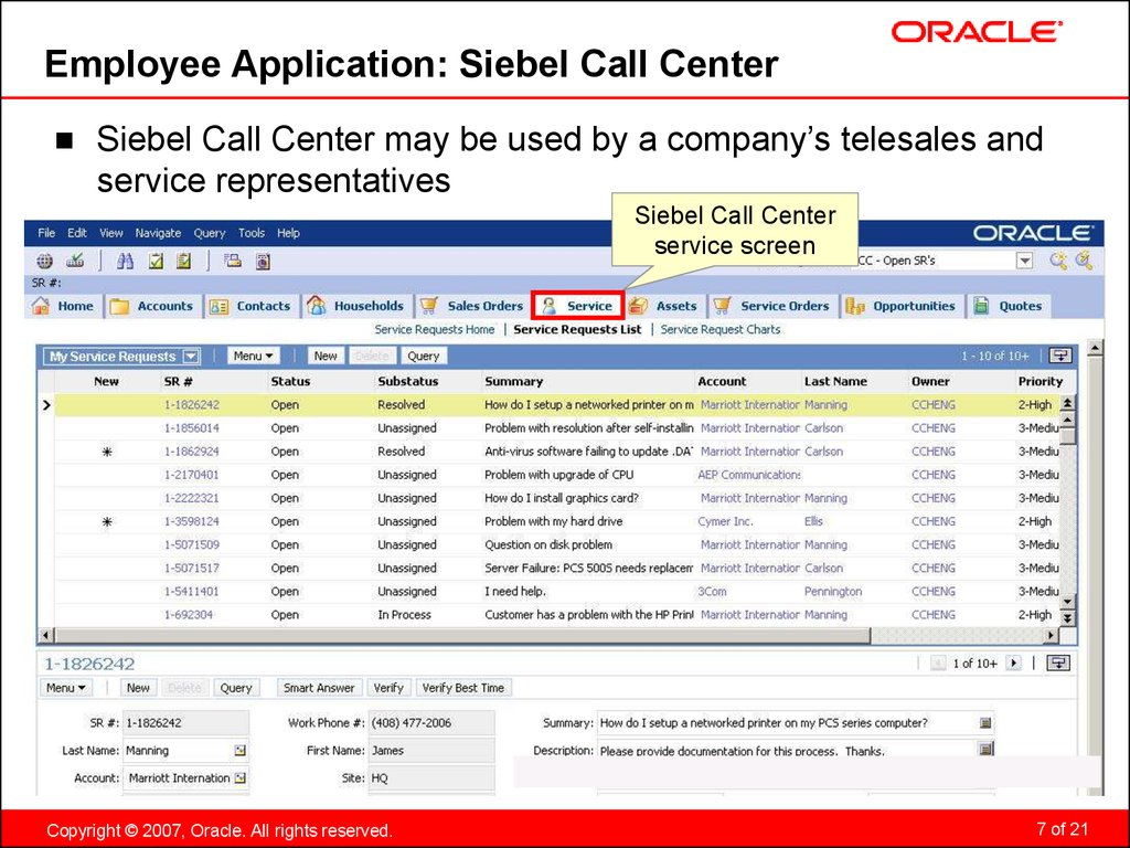 Employee Application: Siebel Call Center