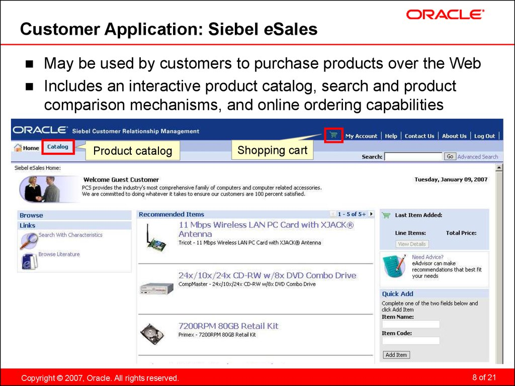 Customer Application: Siebel eSales
