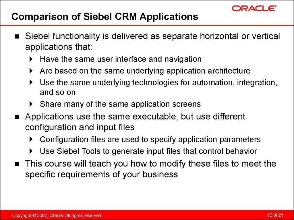 Comparison of Siebel CRM Applications