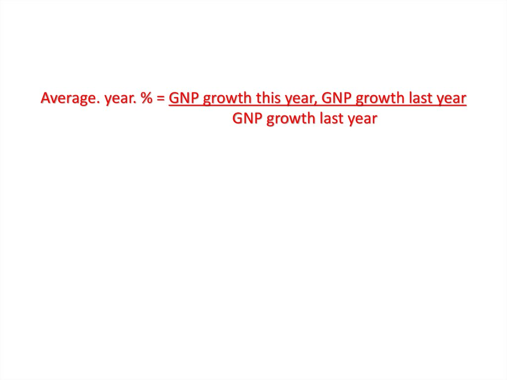 Average. year. % = GNP growth this year, GNP growth last year                            GNP growth last year