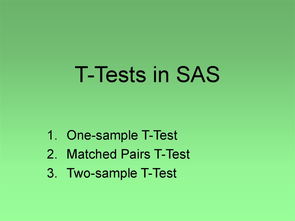 Independent group student's t-tests using sas.