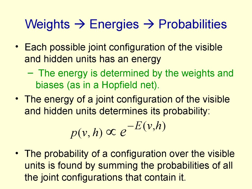 Weights  Energies  Probabilities