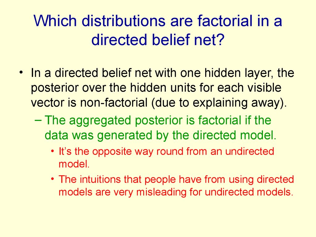 Which distributions are factorial in a directed belief net?