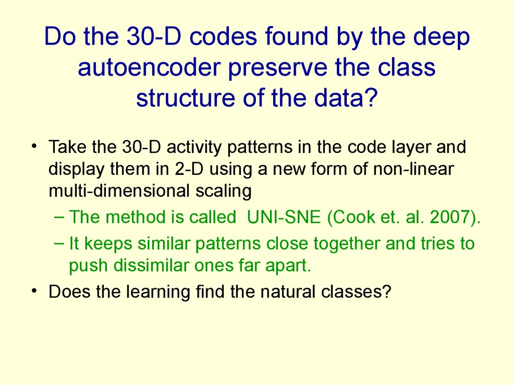 Do the 30-D codes found by the deep autoencoder preserve the class structure of the data?