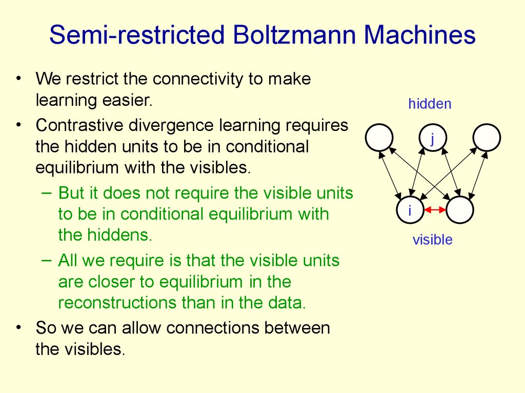 Semi-restricted Boltzmann Machines
