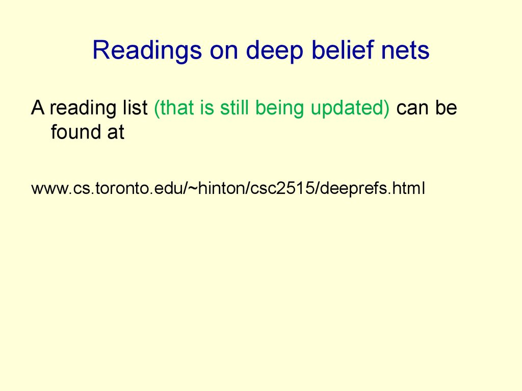 Readings on deep belief nets