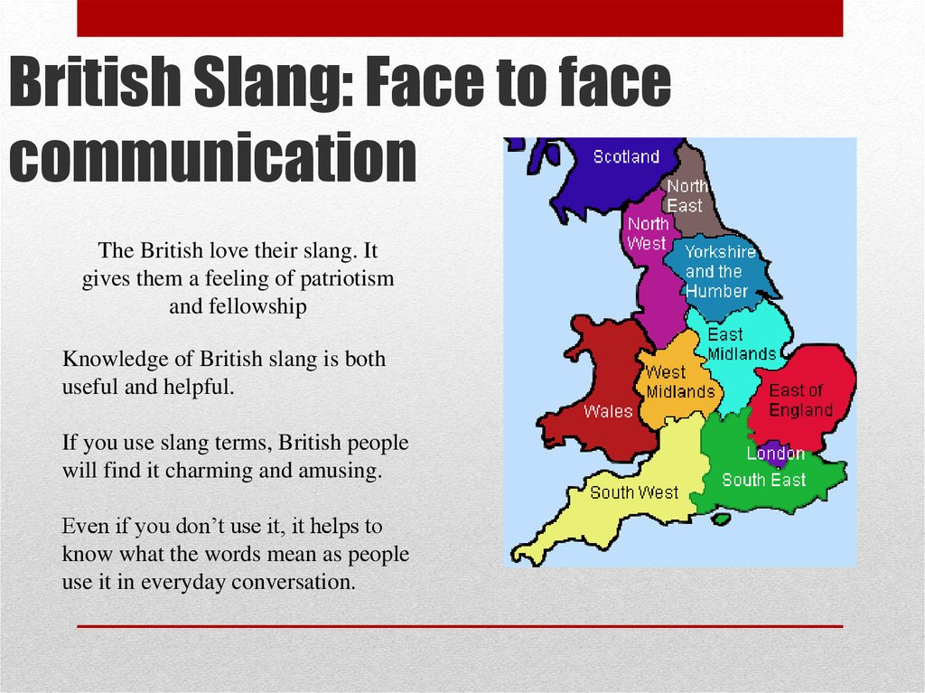 British Slang: Face to face communication