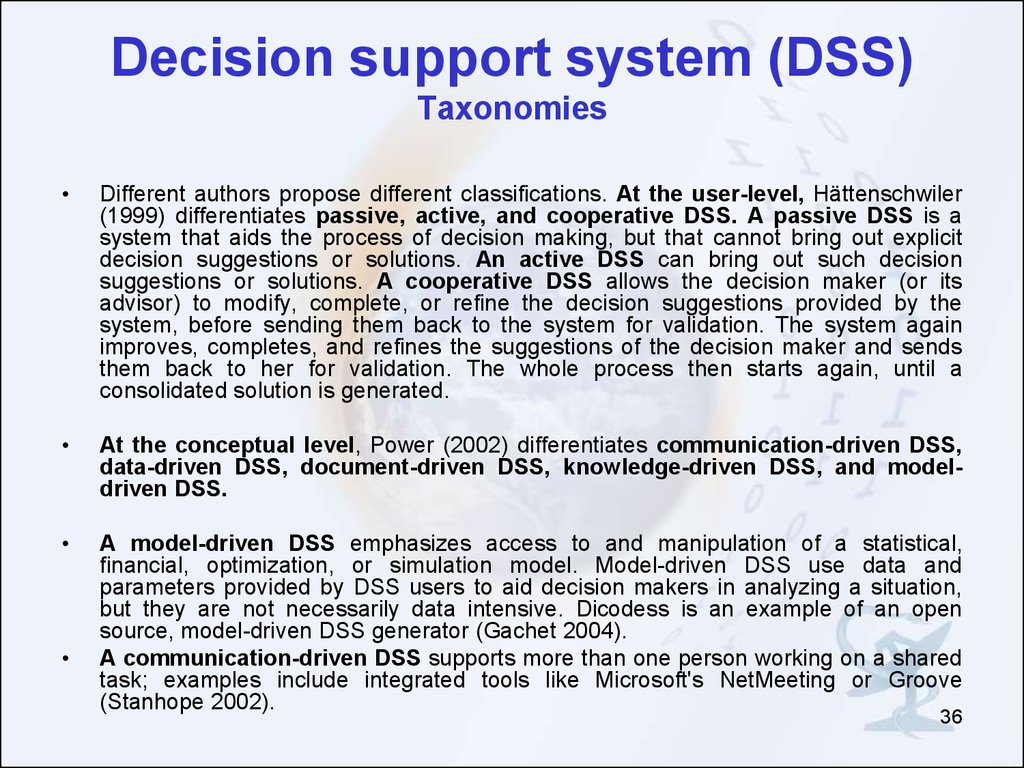 model driven decision support system
