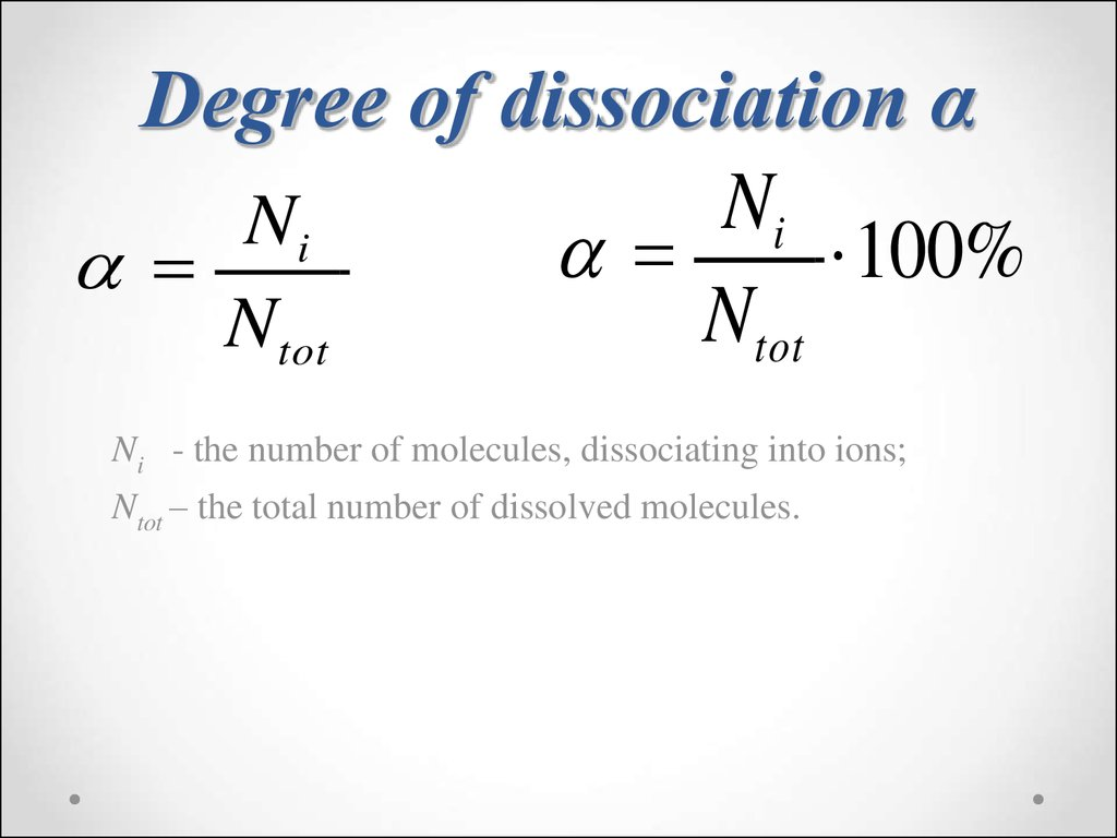 Degree of dissociation α