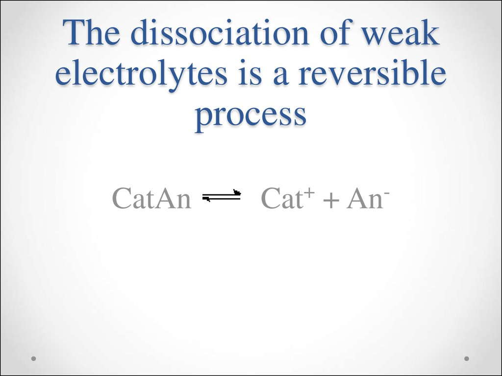 The dissociation of weak electrolytes is a reversible process