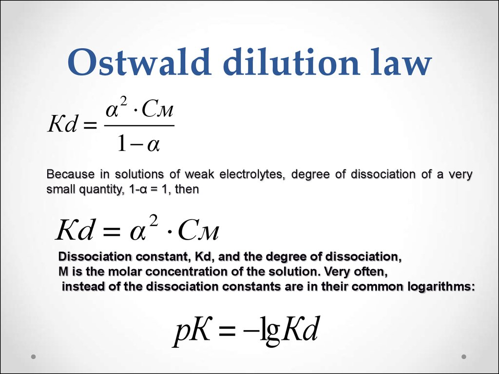 Ostwald dilution law